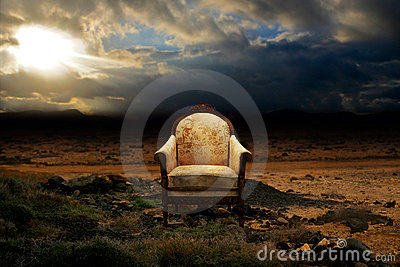 Throne in desolated rock desert