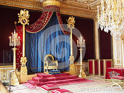 Throne of Napoleon in Fontainebleau castle Editorial Stock Photo