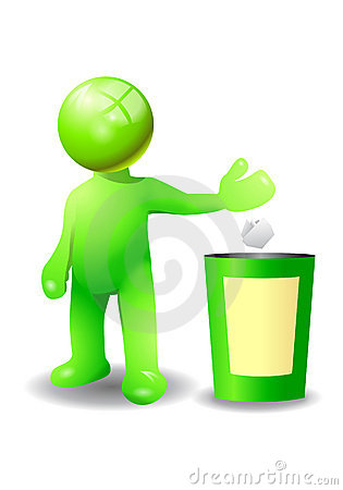 Throw a trash into recycle bin royalty free stock image image