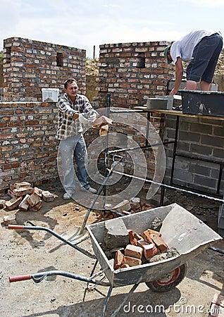 Throwing bricks wheelbarrow