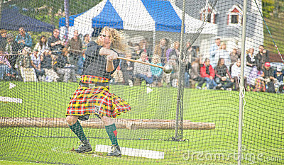 Throwing the hammer at Glenurquhart  Games. Editorial Photo