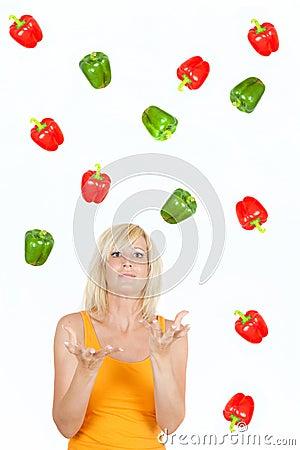 Throwing Vegetable girl