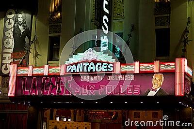 Théâtre célèbre de Pantages Image éditorial