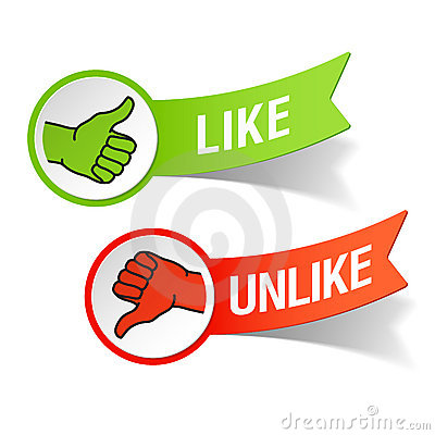 Thumb up and down gestures - like and unlike