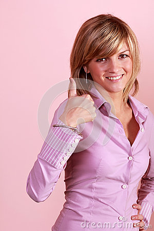 Thumb up gesture from attractive girl
