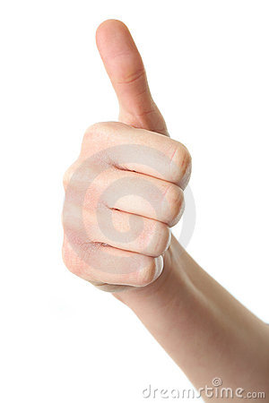 Thumb up gesture isolated on white