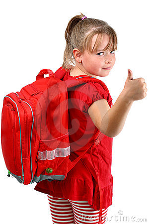 Thumb up girl with red schoolbag isolated on white
