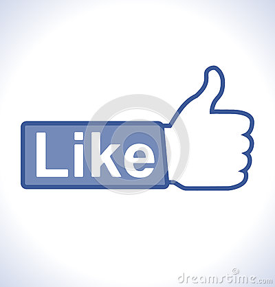 Thumb up hand with like text on button Editorial Stock Image
