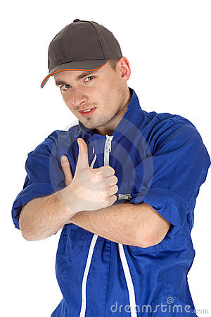 Thumb up man in blue coveralls and baseball cap