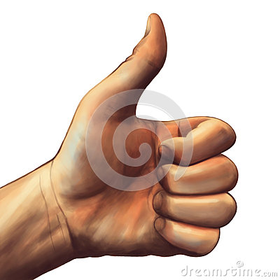Thumb Up Painting Isolated White