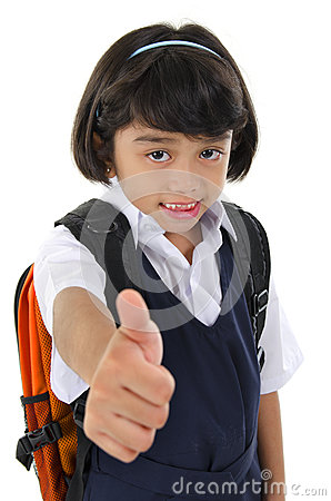 Thumb up primary school girl