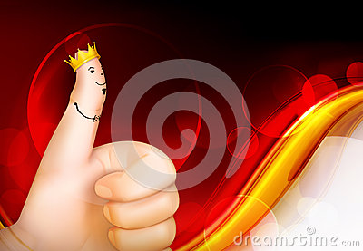 Thumb up red background