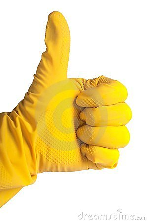 Thumb up in rubber glove