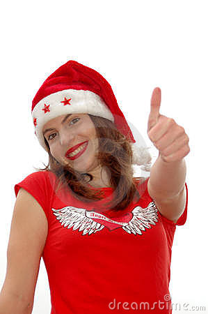 Thumb up Santa girl