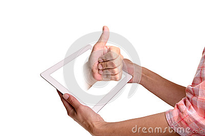 Tablet  with thumbs up