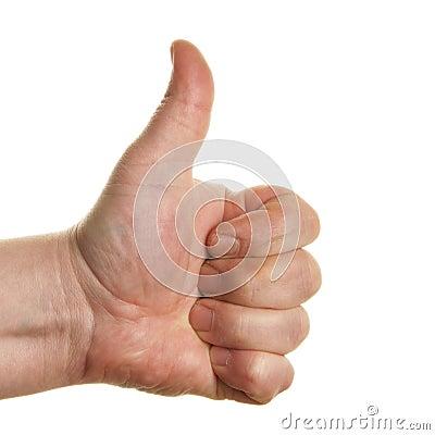 Thumb-up sign close-up