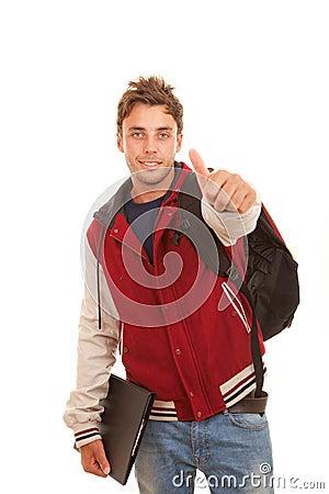 Thumb up student