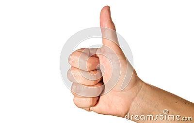 Thumb up / success concept