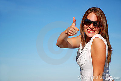 Thumb up woman