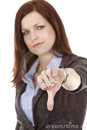 Thumbs down from woman
