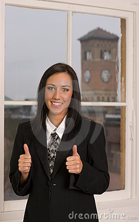 Thumbs Up Business Woman Office Employee