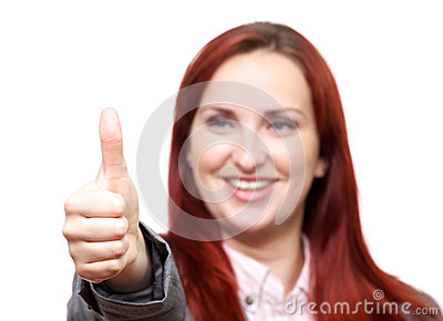Thumbs up from attractive lady