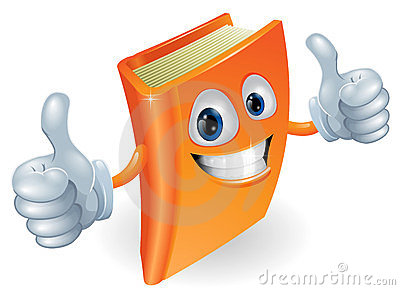 Thumbs up book cartoon character