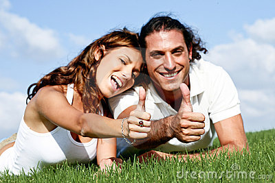 Thumbs-up couple