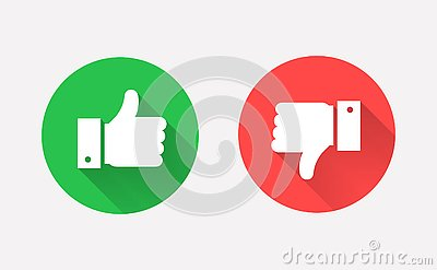 Thumbs up and down flat icon in circle shapes Vector Illustration