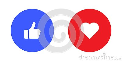 Thumbs up and heart icon on a white background. Modern flat style vector illustration Cartoon Illustration