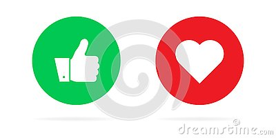 Thumbs up and hearts on a white background. Vector illustration of emotions. For social networks and advertising Cartoon Illustration