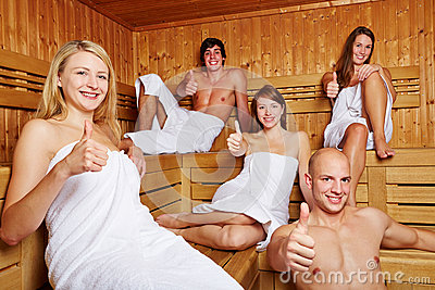 Thumbs up in a mixed sauna