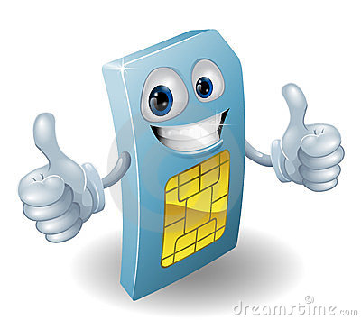 Thumbs up phone sim card person