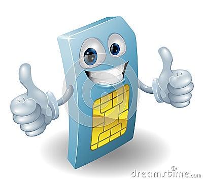 Thumbs up phone sim card person