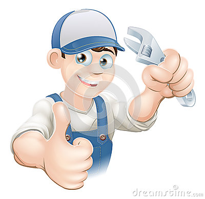 Free Thumbs Up Plumber With Spanner Stock Photos - 25759483