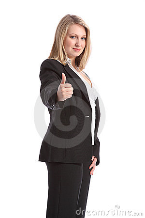 Thumbs up positive sign by business woman in suit