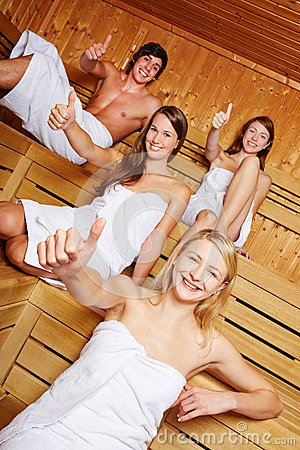 Thumbs up in a sauna