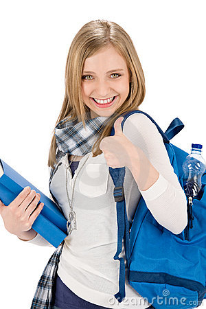 Thumbs up student teenager woman with schoolbag