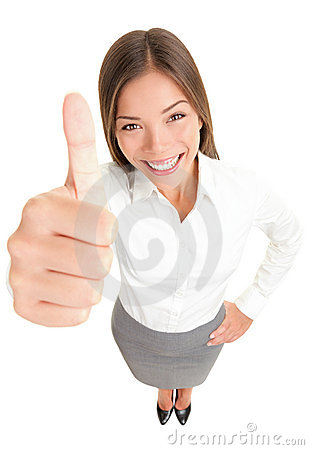 Thumbs up success woman