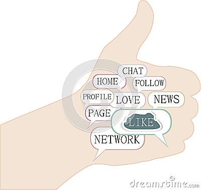 Thumbs up symbol, keywords on social media themes