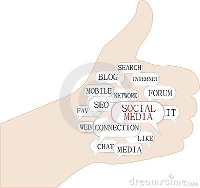 Thumbs up symbol with social media themes