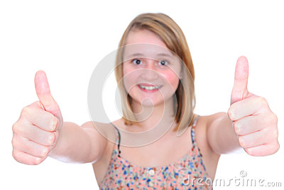 Thumbs up teen girl