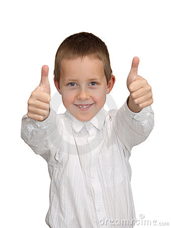 Thumbs up, well-done gesture, smiling boy