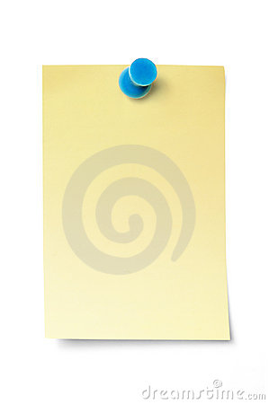 Thumbtack on adhesive note with clipping path