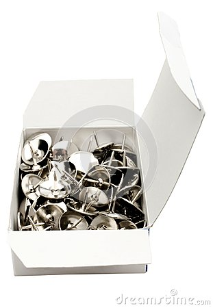 Thumbtacks in box