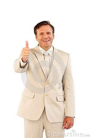 Thumps Up Showing Male Business Person Royalty Free Stock Images - Image: 10313299
