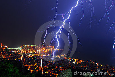 Thunder storm night