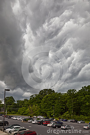 Thunder storm over parking lot