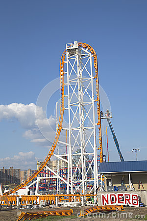 The Thunderbolt roller coaster under construction at the Coney Island in Brooklyn Editorial Stock Photo