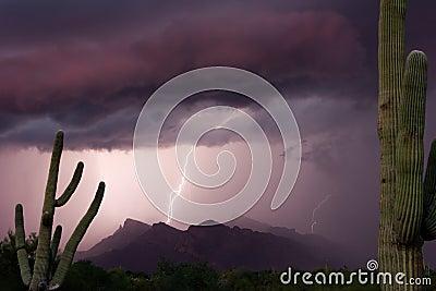 Thundershower för puschkantsolnedgång